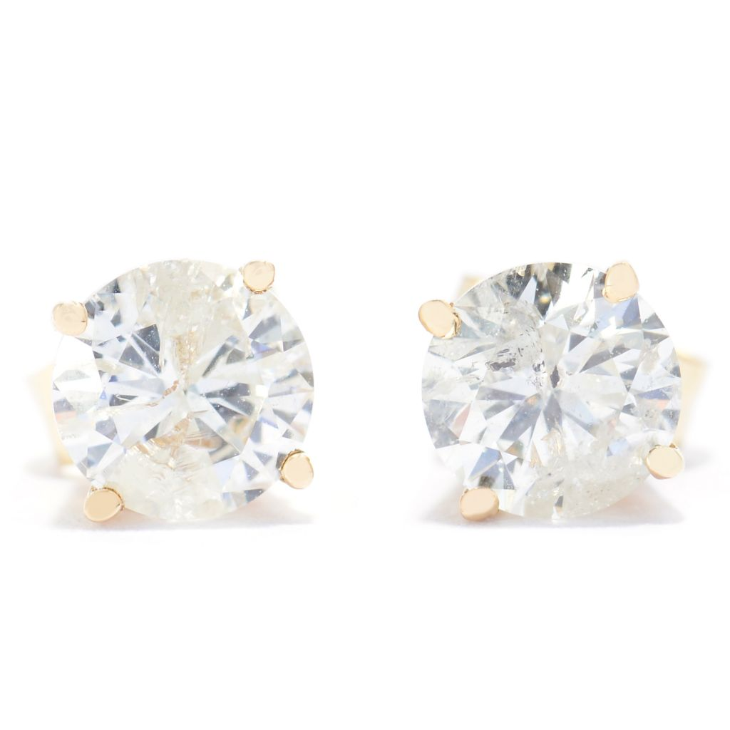 140-465 - Diamond Treasures 14K Gold 0.95ctw Diamond Round Stud Earrings