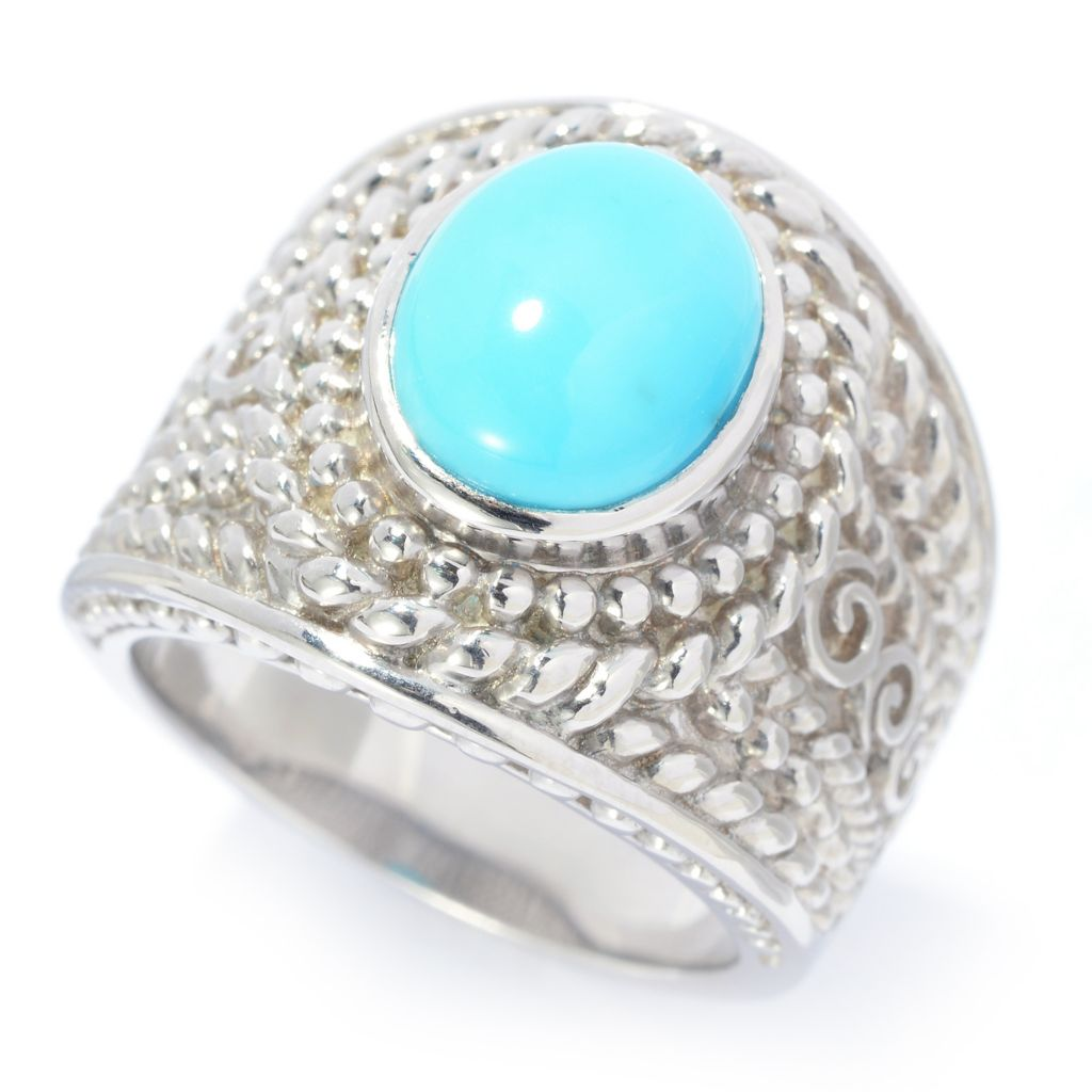 140-466 - Gem Insider Sterling Silver 10 x 8mm Sleeping Beauty Turquoise Wide Band Ring