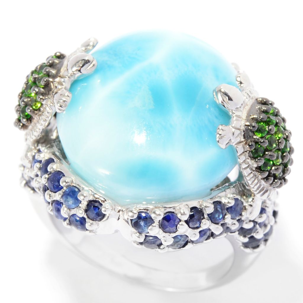 140-471 - Gem Insider Sterling Silver 17.5 x 13mm Oval Larimar & Multi Gem Turtle Ring
