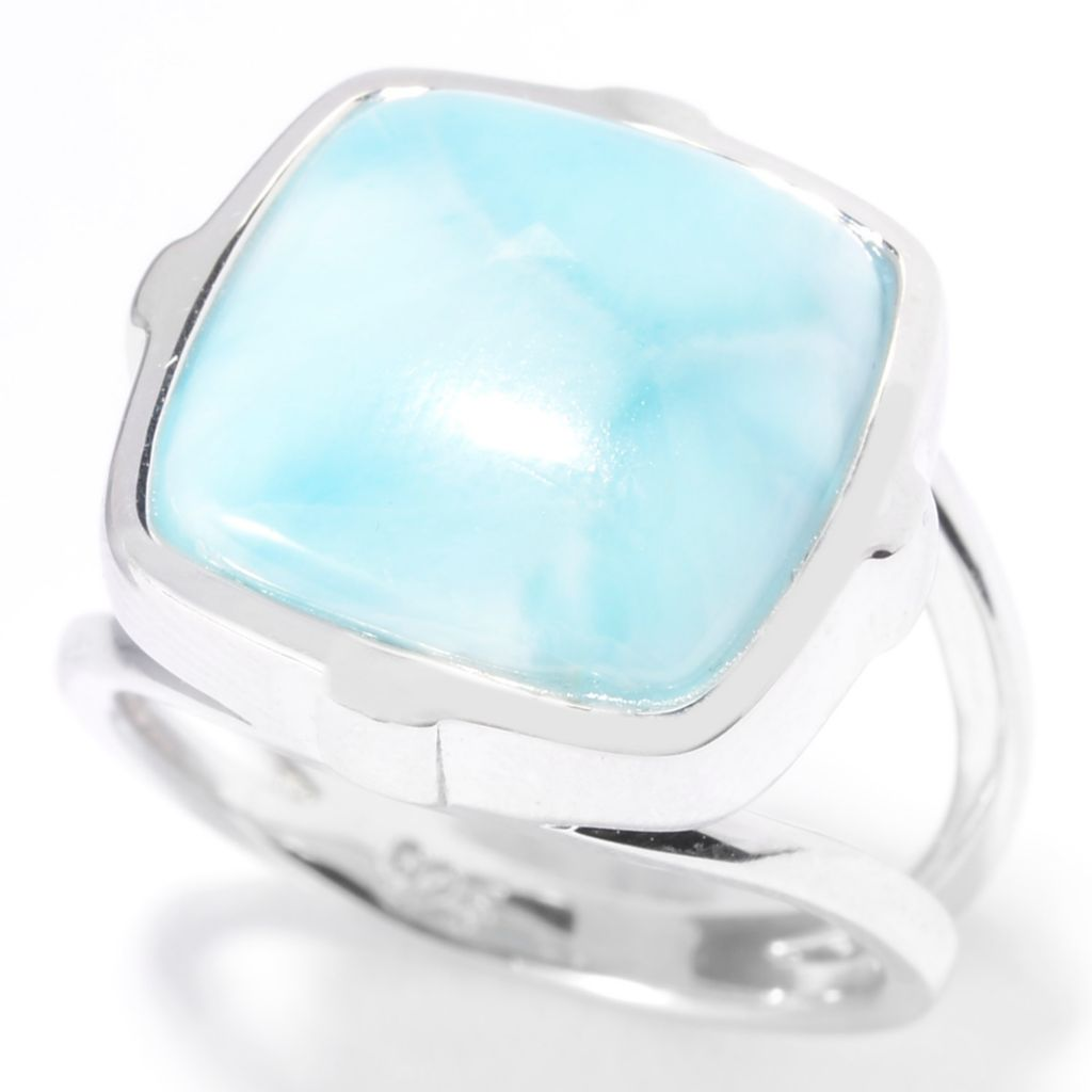 140-473 - Gem Insider Sterling Silver 13mm Square Larimar Split Shank Ring