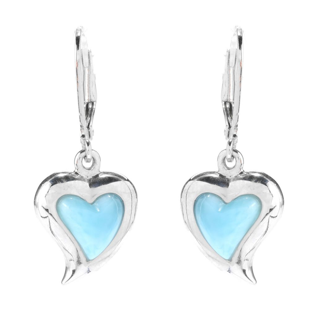 "140-477 - Gem Insider Sterling Silver 1.25"" 8.5 x 8mm Larimar Heart Leverback Earrings"