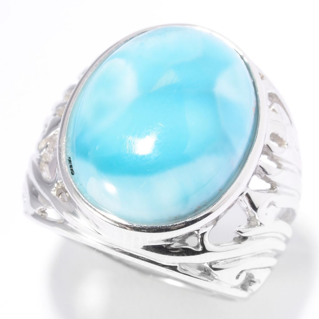 140-478 - Gem Insider Sterling Silver 17 x 13.5mm Oval Larimar Cut-out Shank Ring