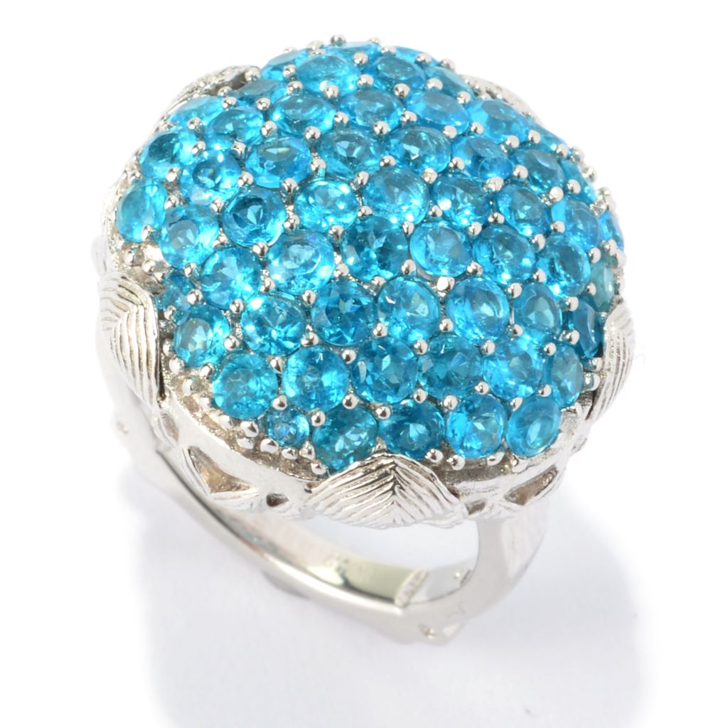 140-483 - Dallas Prince Sterling Silver Gemstone Cluster Flower Ring