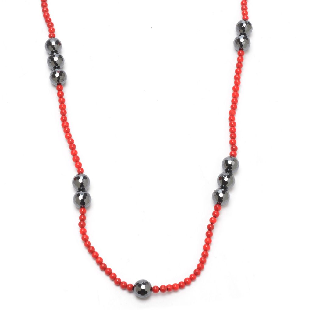 "140-485 - Dallas Prince 36"" Hematite & Bamboo Coral Beaded Necklace"