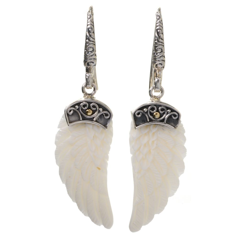 "140-487 - Artisan Silver by Samuel B. 2"" 30 x 13mm Carved Bone Wing Drop Earrings"