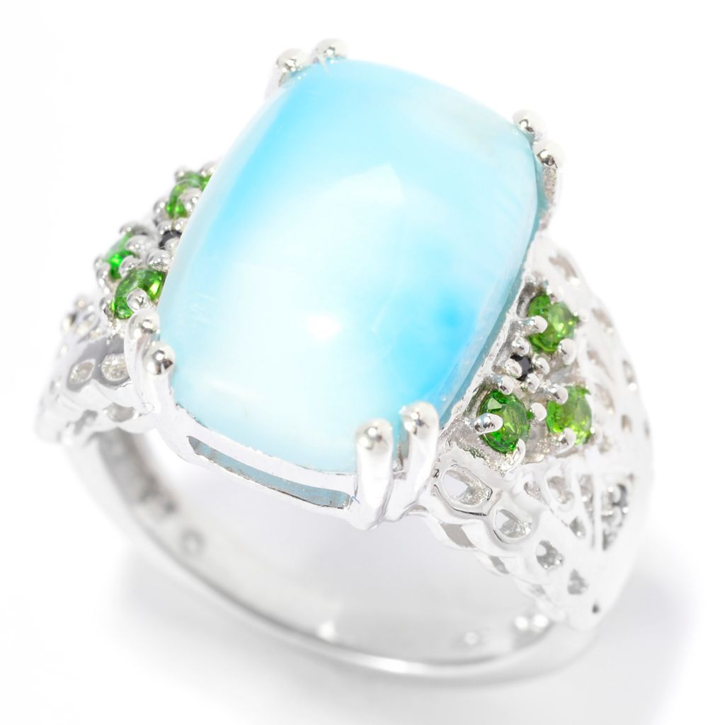 140-497 - Gem Insider Sterling Silver 14 x 10mm Larimar, Chrome Diopside & Black Spinel Ring