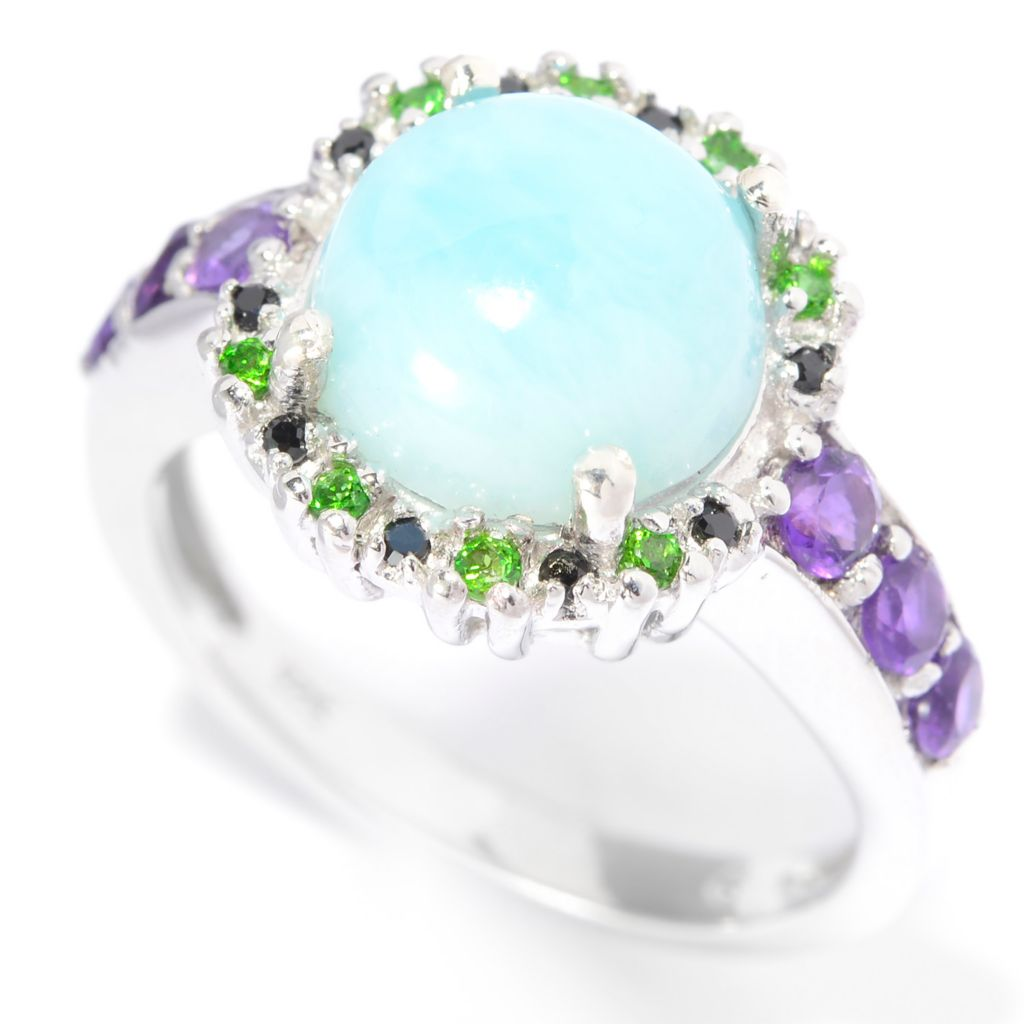 140-499 - Gem Insider Sterling Silver 9mm Larimar & Multi Gem Halo Flower Ring
