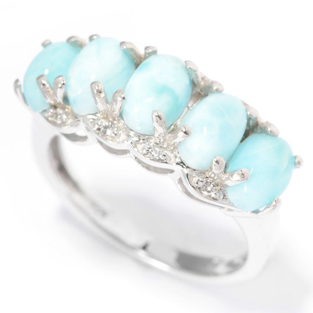 140-500 - Gem Insider Oval Larimar & White Topaz Five-Stone Ring