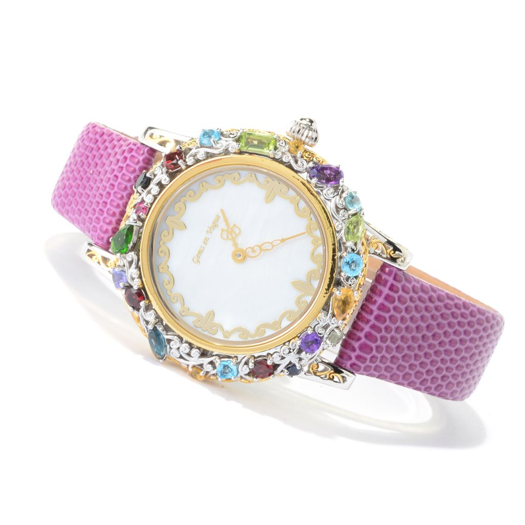 "140-502 - Gems en Vogue Multi Gemstone ""Carnaval"" Leather Strap Watch"