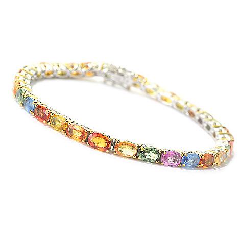 140-503 - Gems en Vogue 13.50ctw Oval Multi Sapphire Tennis Bracelet