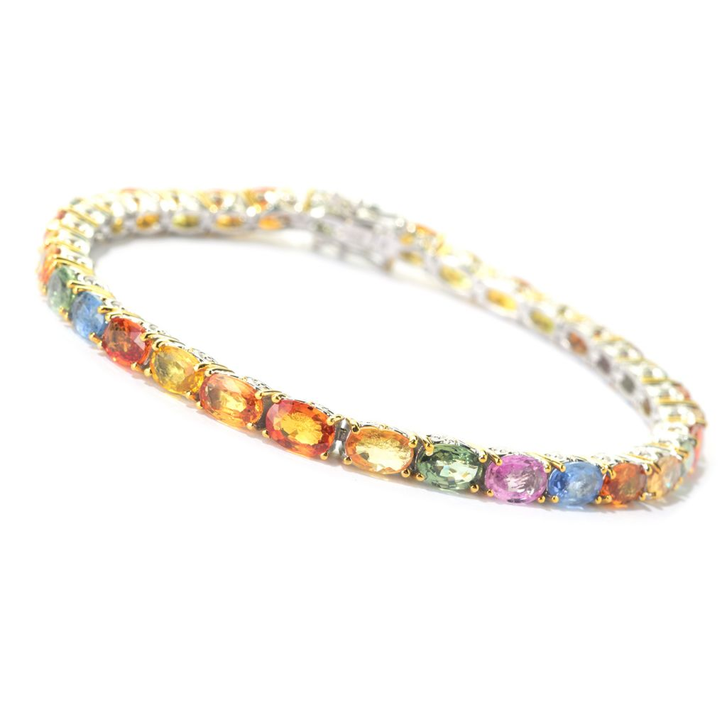 140-503 - Gems en Vogue 6 x 4mm Oval Multi Sapphire Tennis Bracelet