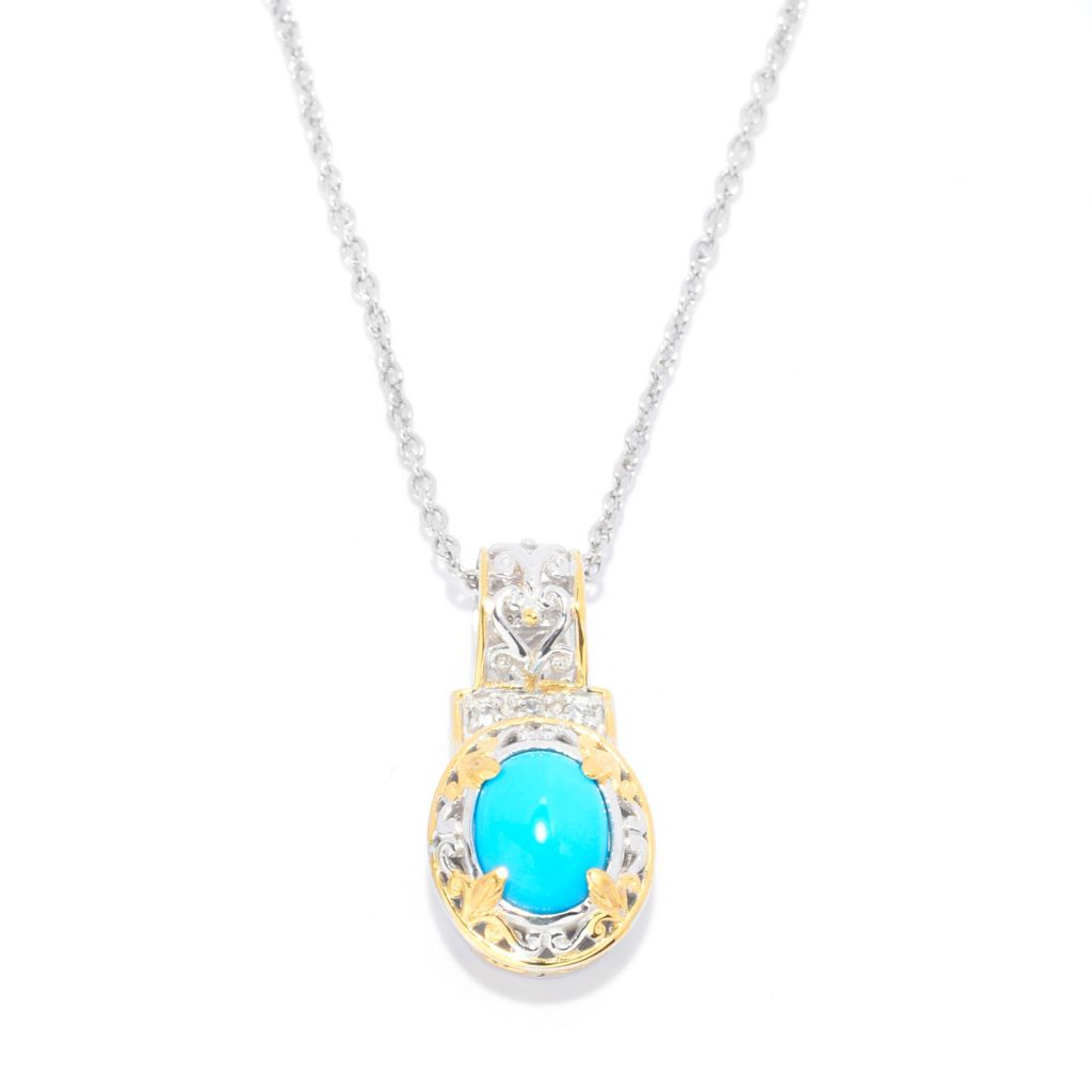 140-506 - Gems en Vogue Oval Sleeping Beauty Turquoise & White Zircon Pendant w/ Chain