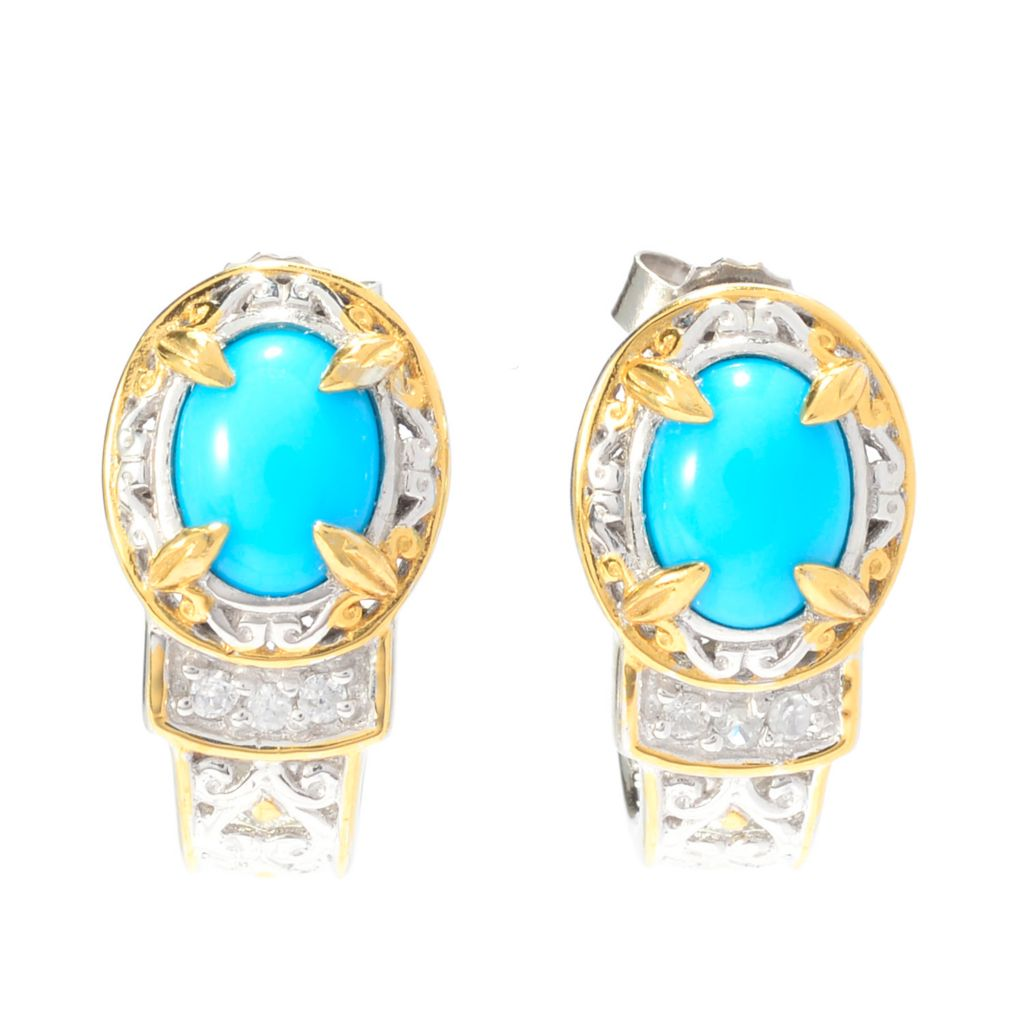 140-507 - Gems en Vogue Sleeping Beauty Turquoise & White Zircon J-Hoop Earrings