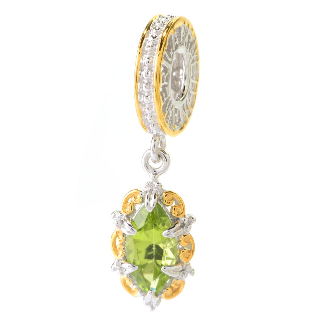 140-510 - Gems en Vogue 1.04ctw Marquise Shaped Arizona Peridot Drop Charm
