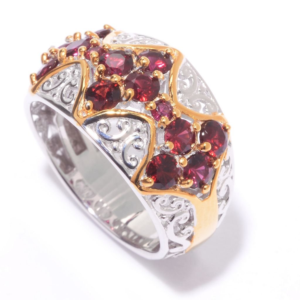 140-512 - Gems en Vogue 1.09ctw Arizona Anthill Garnet Diamond Shaped Cluster Trio Ring