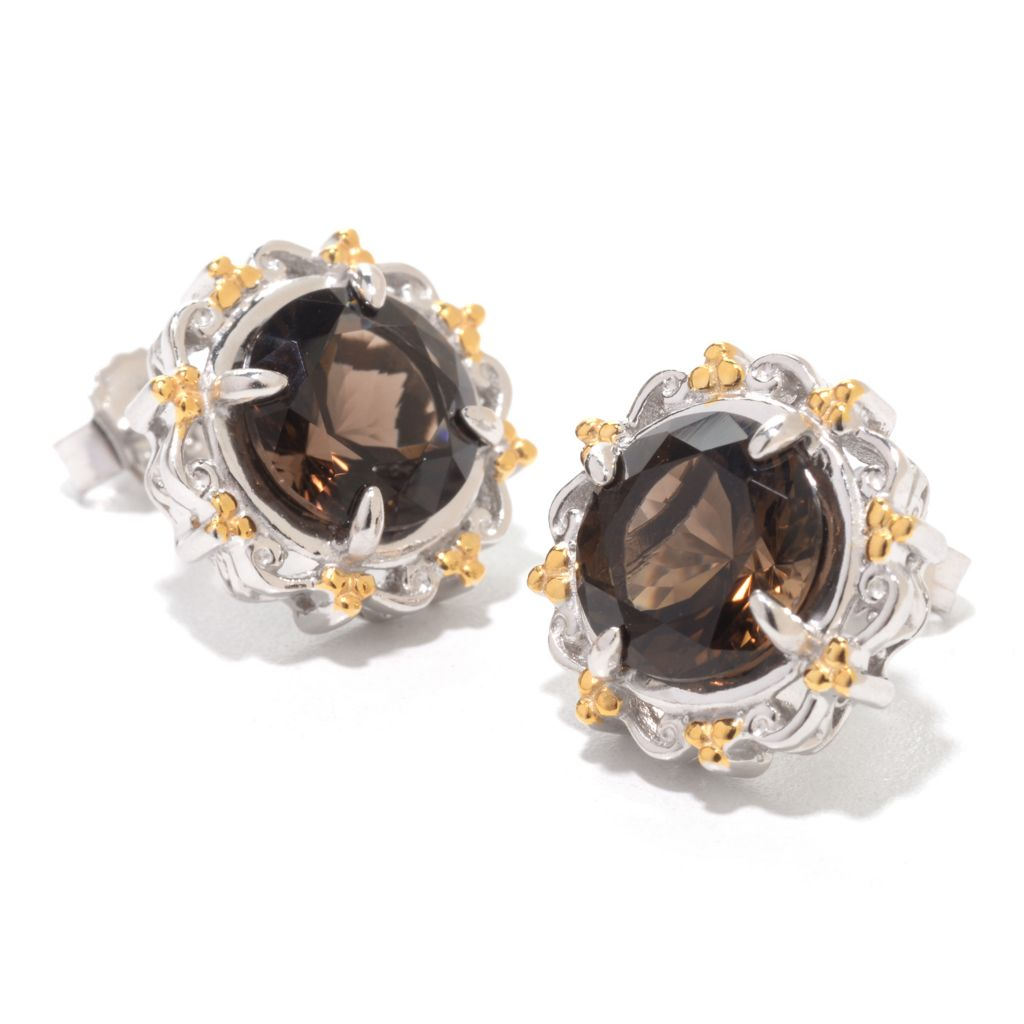 140-513 - Gems en Vogue 4.20ctw Round Arkansas Smoky Quartz Stud Earrings