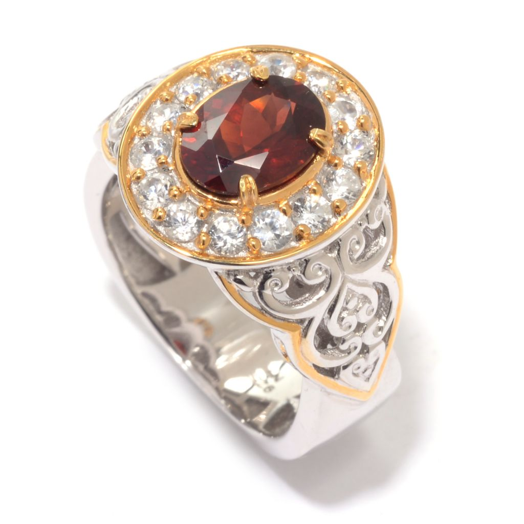 140-514 - Gems en Vogue 2.19ctw Round Idaho Garnet & White Zircon Halo Ring