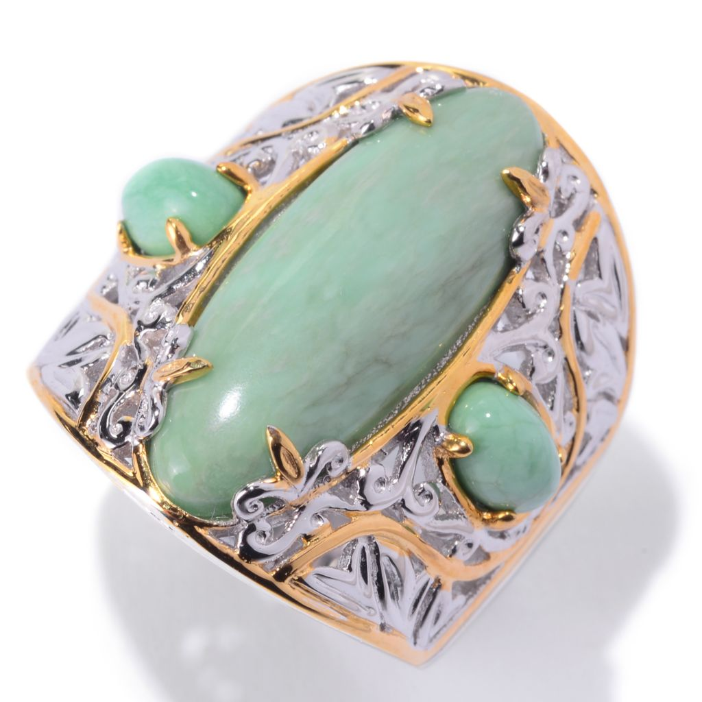 140-516 - Gems en Vogue 22 x 8mm Oval Utah Variscite Elongated Wide Band Ring