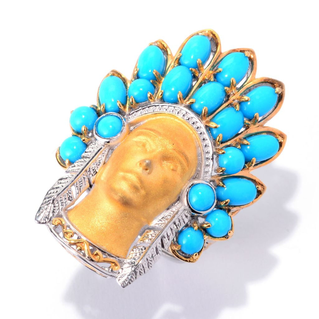 140-517 - Gems en Vogue Sleeping Beauty Turquoise Sculpted Warrior Ring
