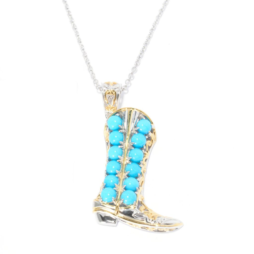 140-518 - Gems en Vogue Sleeping Beauty Turquoise Cowgirl Boot Pendant w/ Chain