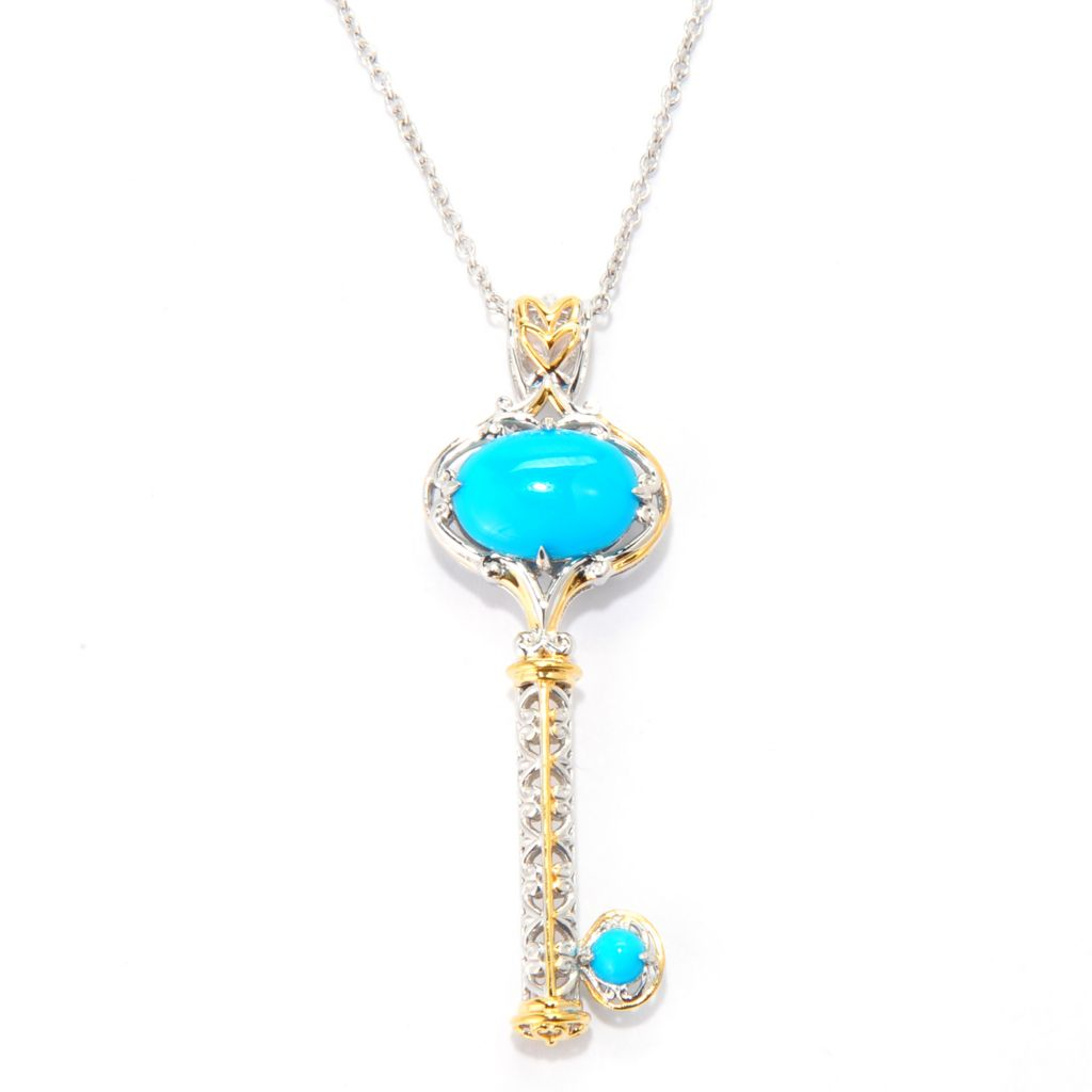 140-520 - Gems en Vogue 14 x 10mm Sleeping Beauty Turquoise Key Pendant w/ Chain