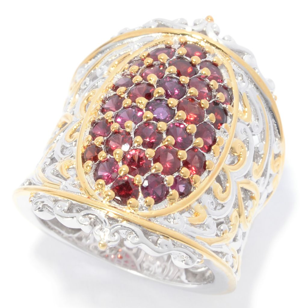 140-521 - Gems en Vogue 1.58ctw Round Arizona Anthill Garnet Wide Band Ring