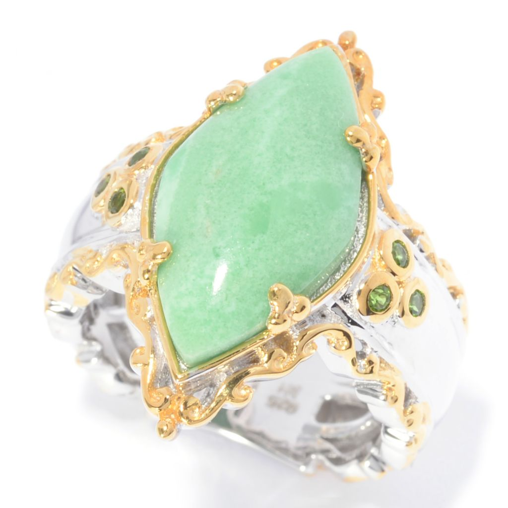 140-524 - Gems en Vogue 19 x 10mm Utah Variscite & Chrome Diopside Polished Ring