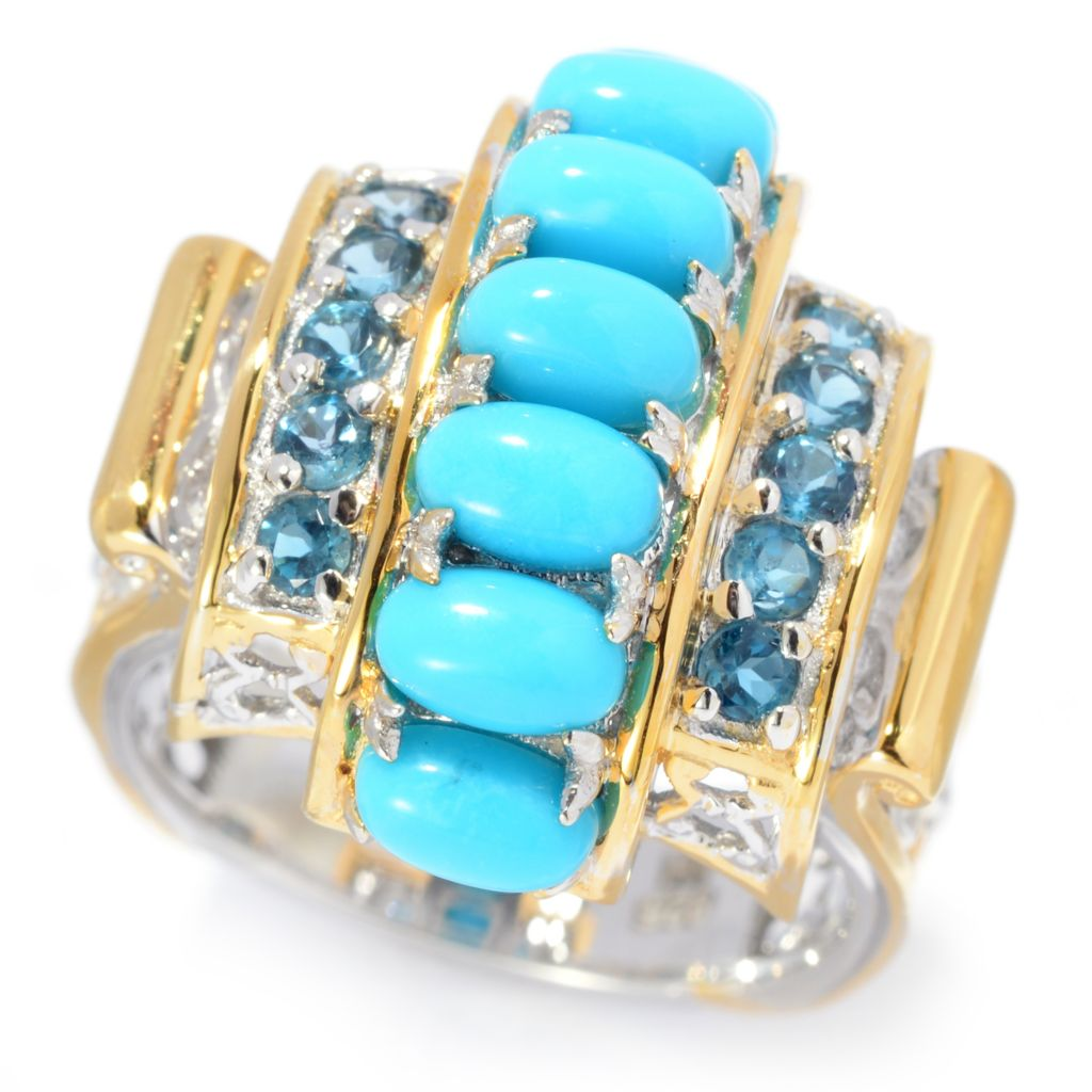 140-525 - Gems en Vogue Sleeping Beauty Turquoise & London Blue Topaz Barrel Top Ring