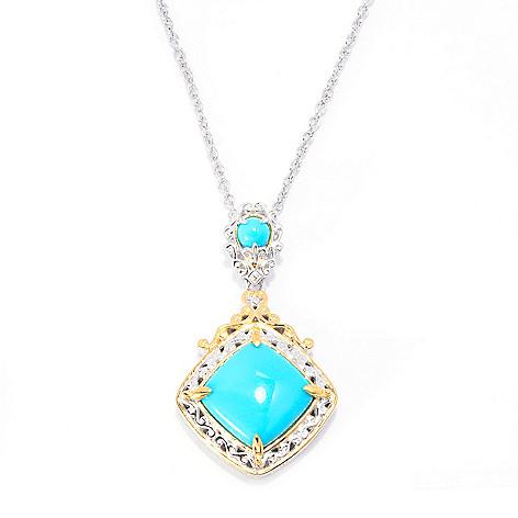 140-527 - Gems en Vogue 12mm Sleeping Beauty Turquoise Drop Pendant w/ 18'' Chain