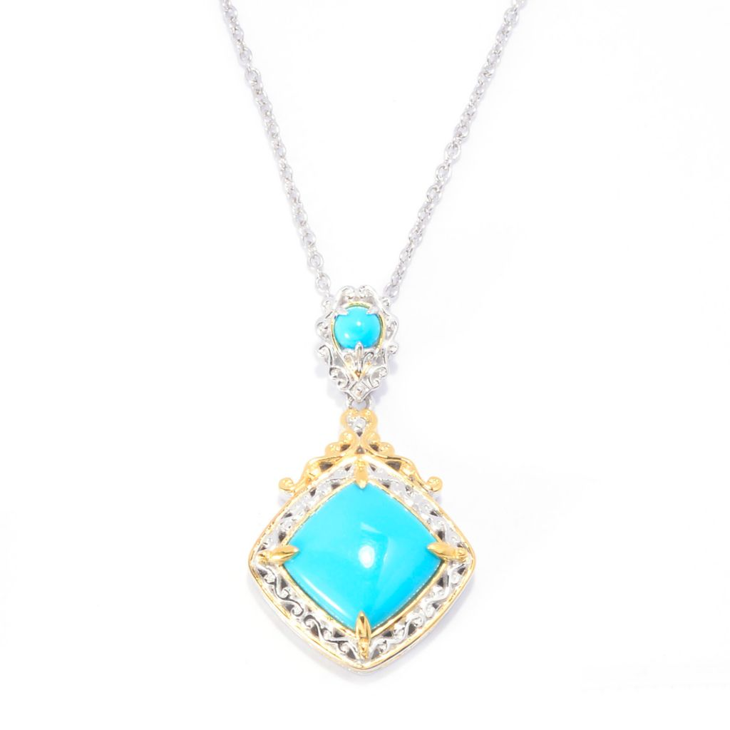 "140-527 - Gems en Vogue 12mm Sleeping Beauty Turquoise Drop Pendant w/ 18"" Chain"