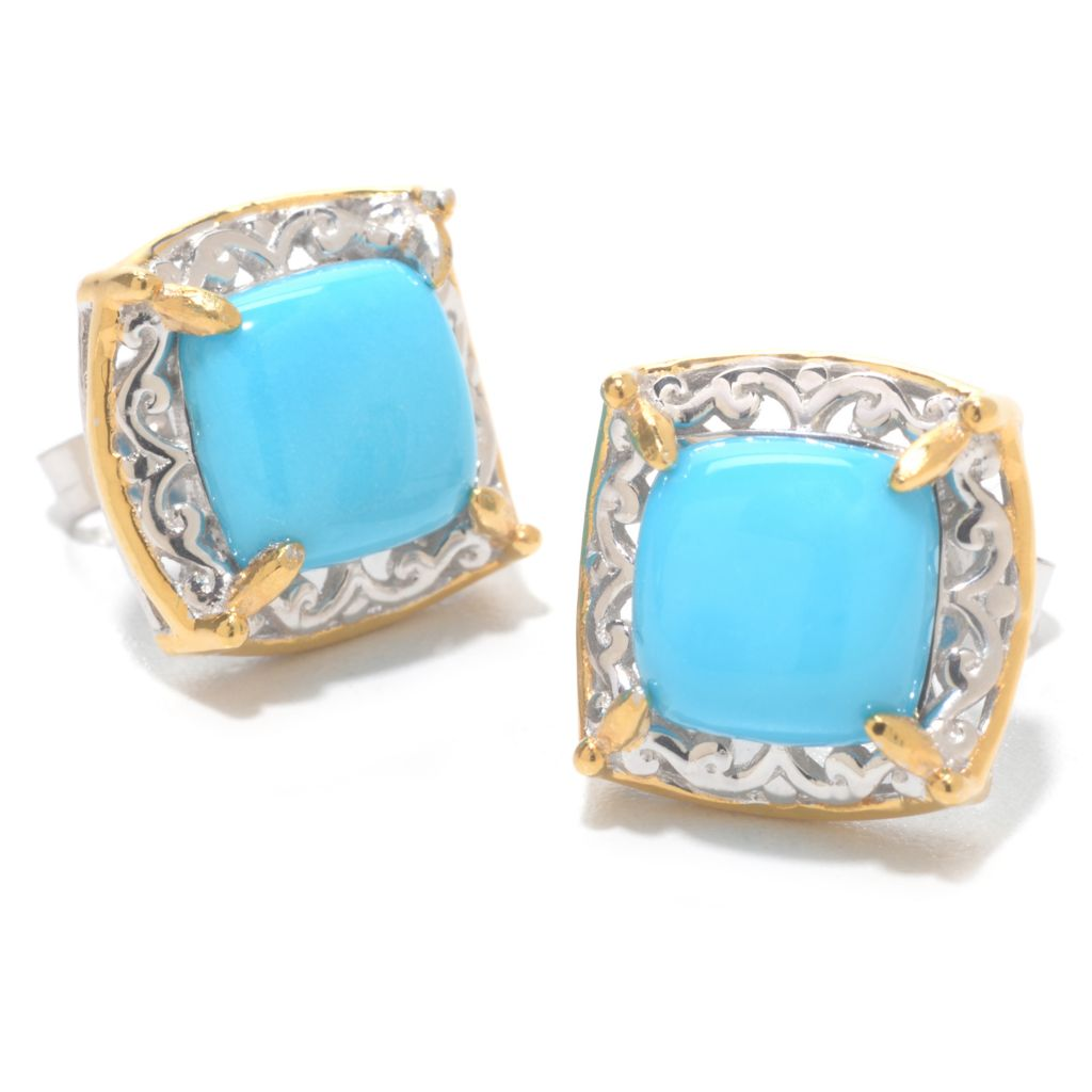 140-528 - Gems en Vogue 8mm Cushion Shaped Sleeping Beauty Turquoise Stud Earrings