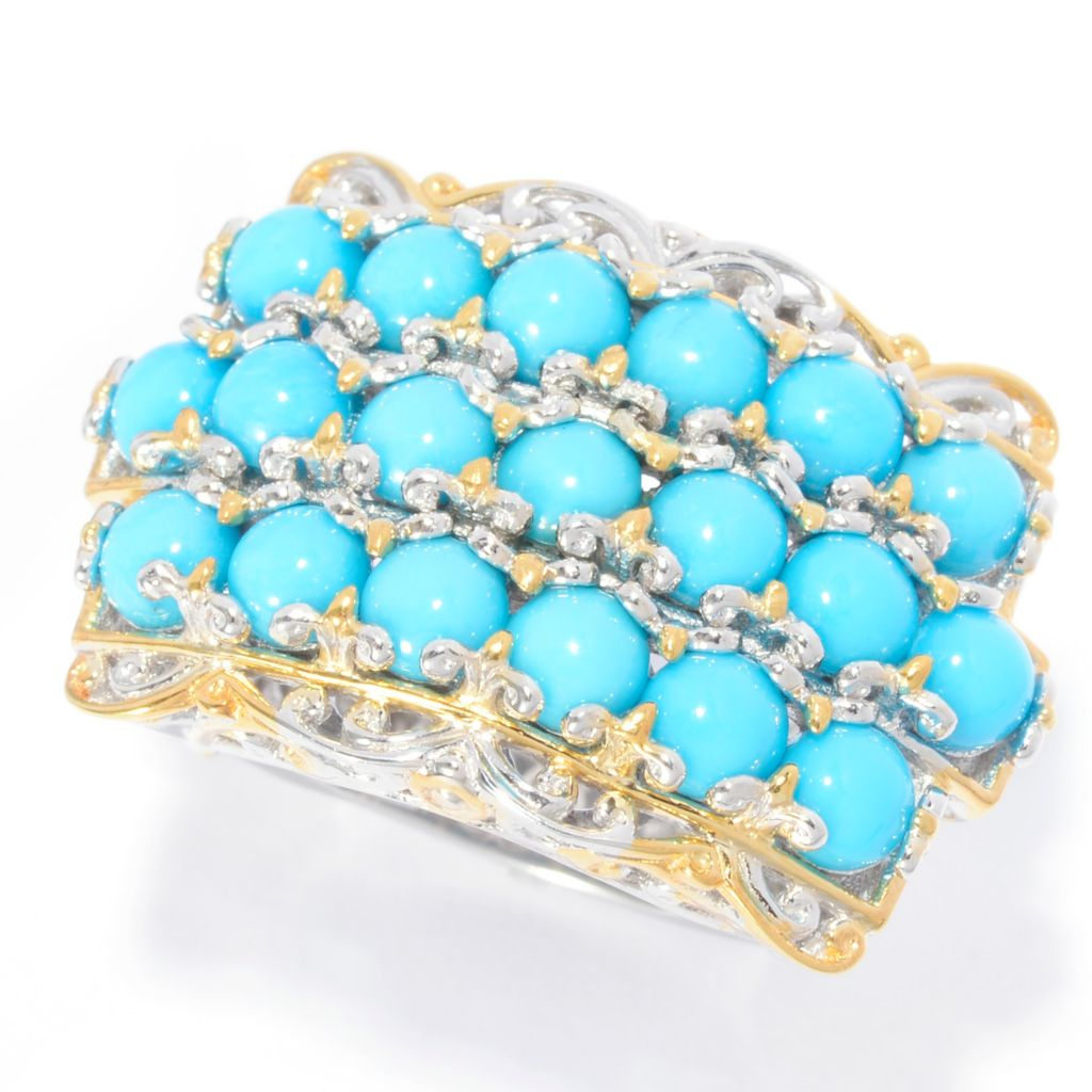 140-530 - Gems en Vogue Sleeping Beauty Turquoise Three-Row Euro Top Ring