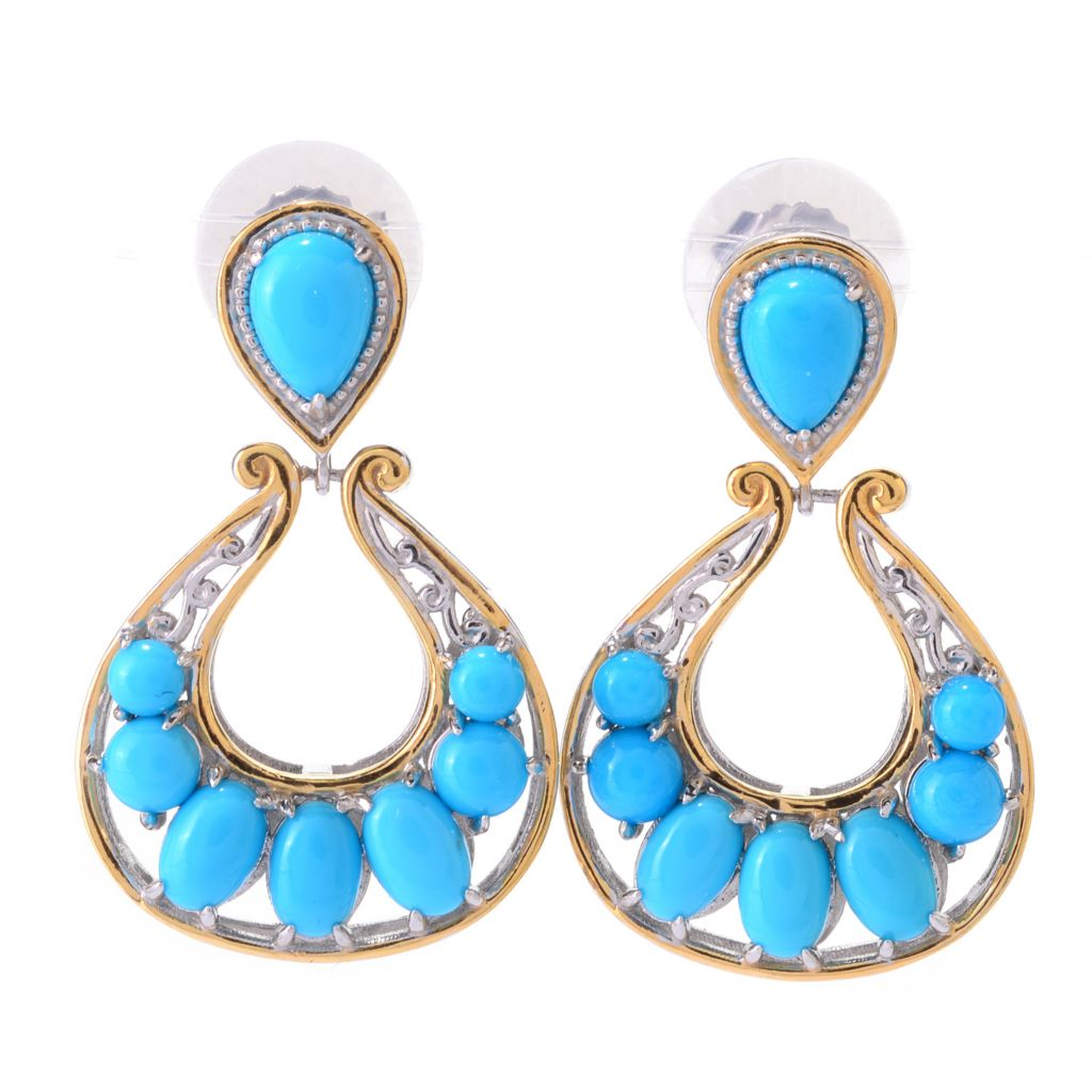 "140-531 - Gems en Vogue 1.25"" Sleeping Beauty Turquoise Door-Knocker Earrings"