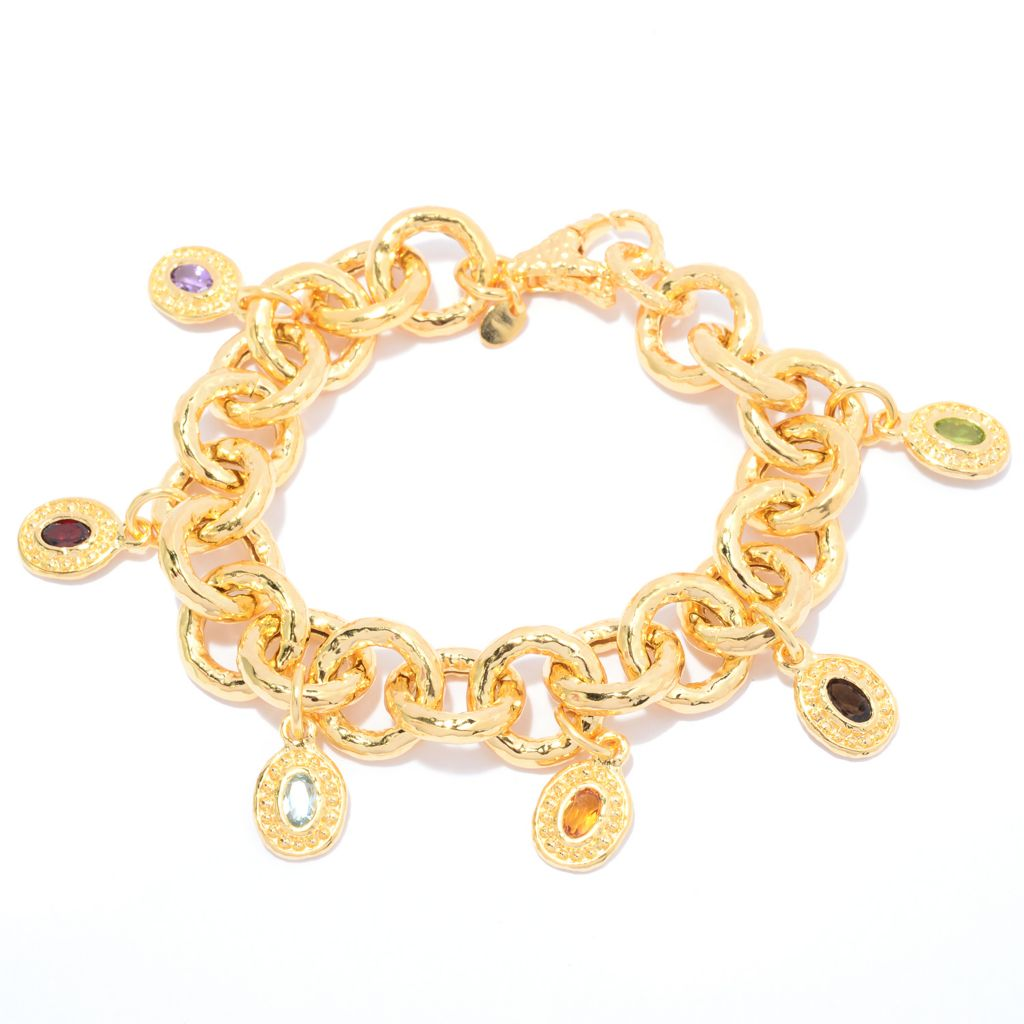 140-534 - Toscana Italiana 18K Gold Embraced™ 1.50ctw Multi Gem Hammered Rolo Link Charm Bracelet