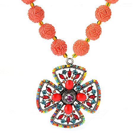 140-536 - FAITH 19'' Crystal & Resin Floral Beaded Cross Medallion Drop Necklace