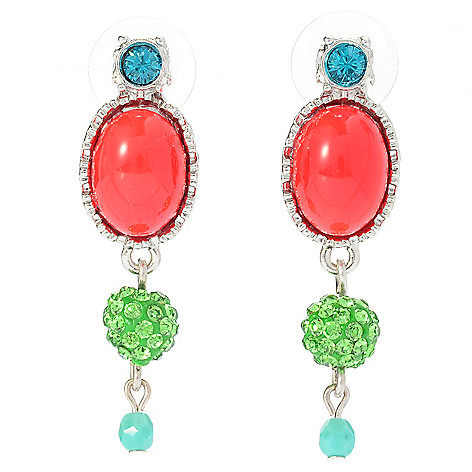 140-540 - FAITH 1.75'' Multi Color Crystal & Glass Drop Earrings