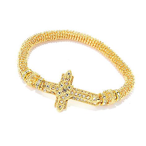 140-551 - FAITH Crystal Textured Sideways Cross Stretch Bracelet