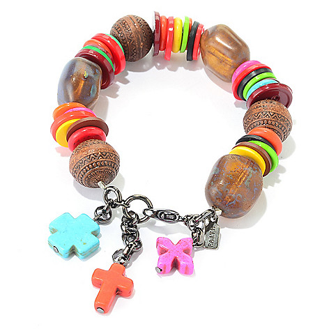 140-552 - FAITH Button & Bead Station Dangle Cross Stretch Bracelet