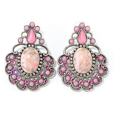 140-554 - FAITH 1.75'' Crystal & Glass Medallion Drop Earrings