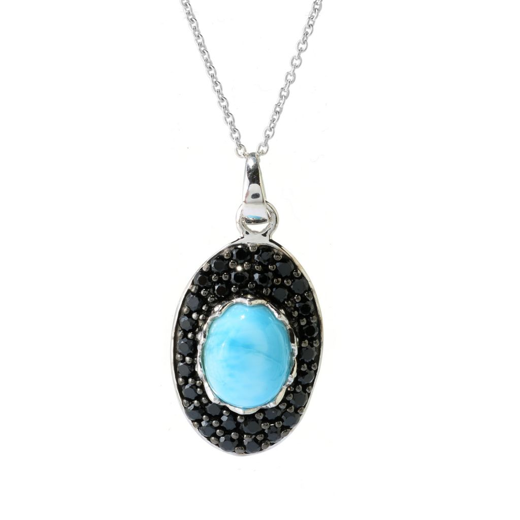 140-556 - Gem Insider Sterling Silver 10 x 8mm Larimar & Black Spinel Pendant w/ Chain