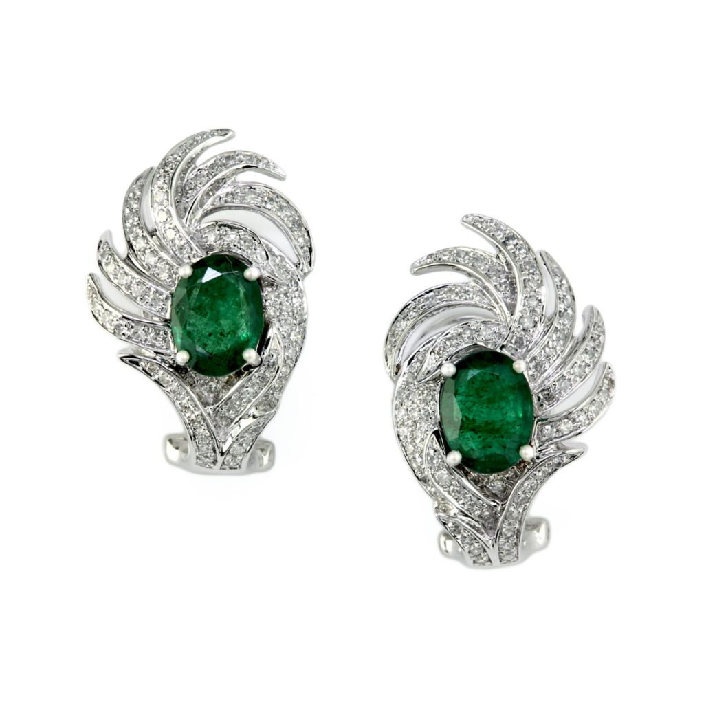 140-560 - Effy 14K White Gold 3.03ctw Emerald & Diamond Stud Earrings w/ Omega Backs