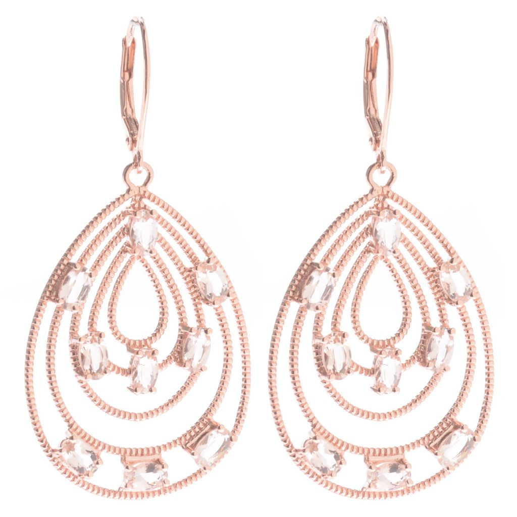 "140-564 - NYC II 2"" 3.45ctw Oval Morganite Textured Drop Earrings"