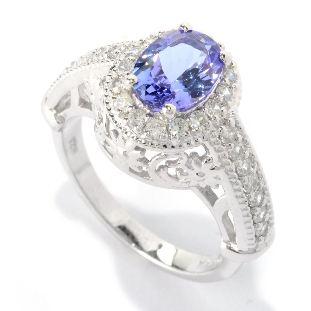 140-567 - NYC II 1.89ctw Oval Tanzanite & White Zircon Halo Ring
