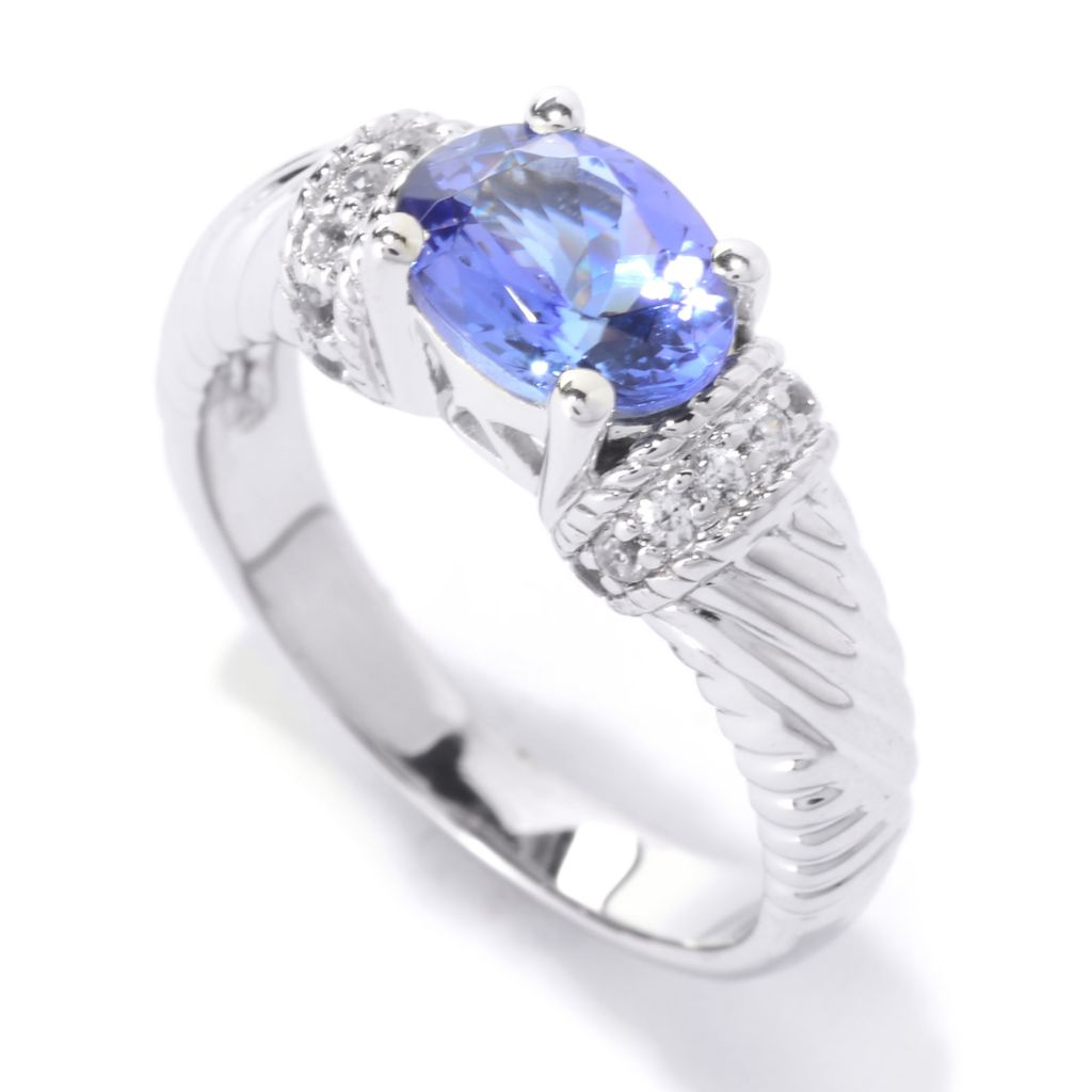 140-568 - NYC II 1.35ctw Oval Tanzanite & White Zircon Textured Band Ring