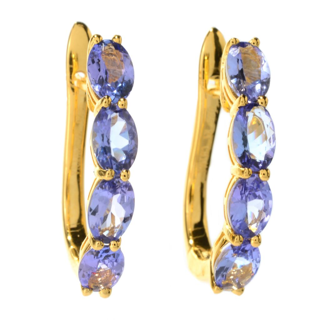 140-569 - NYC II 3.12ctw Oval Tanzanite Four-Stone Hoop Earrings