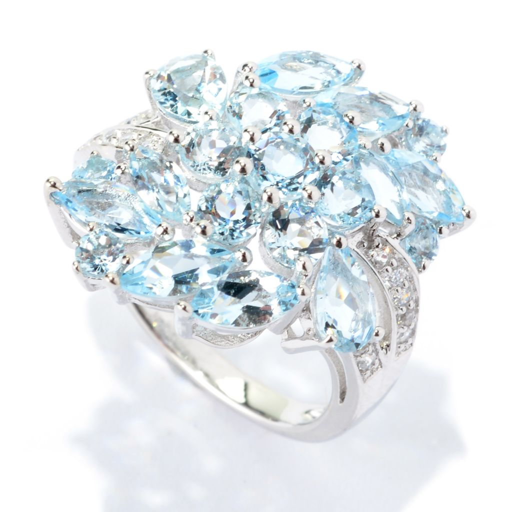 140-570 - NYC II 2.47ctw Aquamarine & White Zircon Cluster Ring