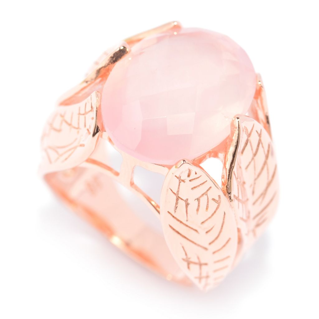 140-572 - NYC II 16 x 12mm Checkerboard Cut Rose Quartz Leaf Shank Ring