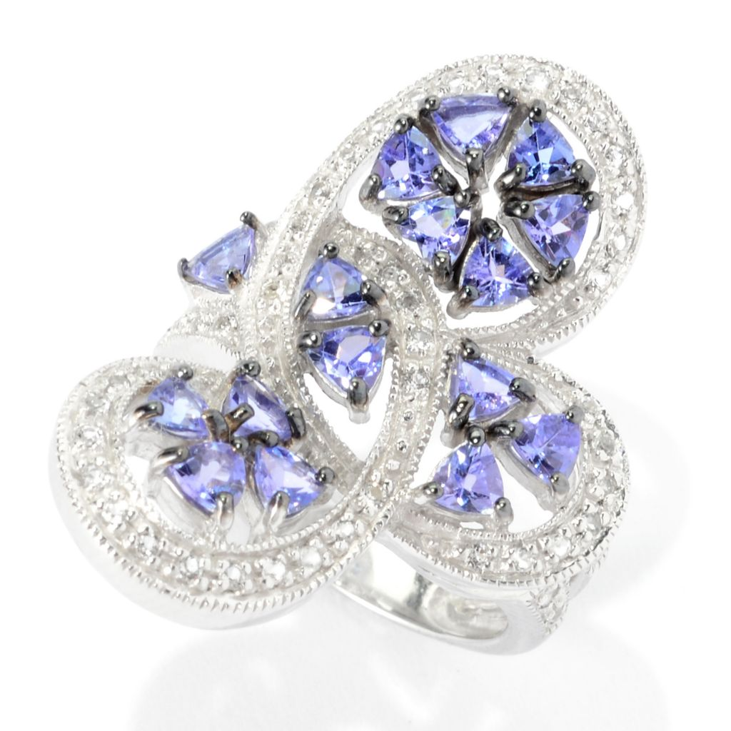140-573 - NYC II 2.02ctw Trillion Tanzanite & White Topaz Elongated Swirl Ring