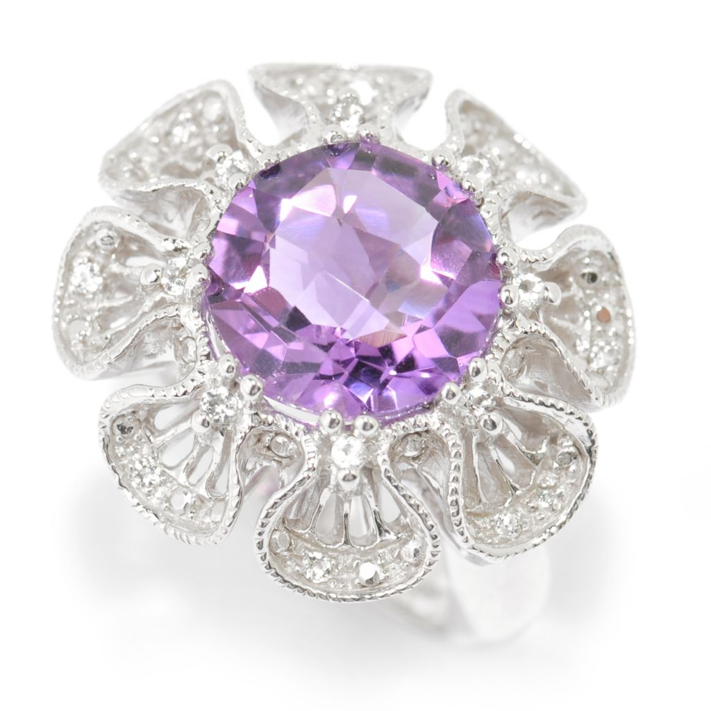 140-574 - NYC II 3.22ctw Checkerboard Cut Gemstone & White Topaz Flower Ring