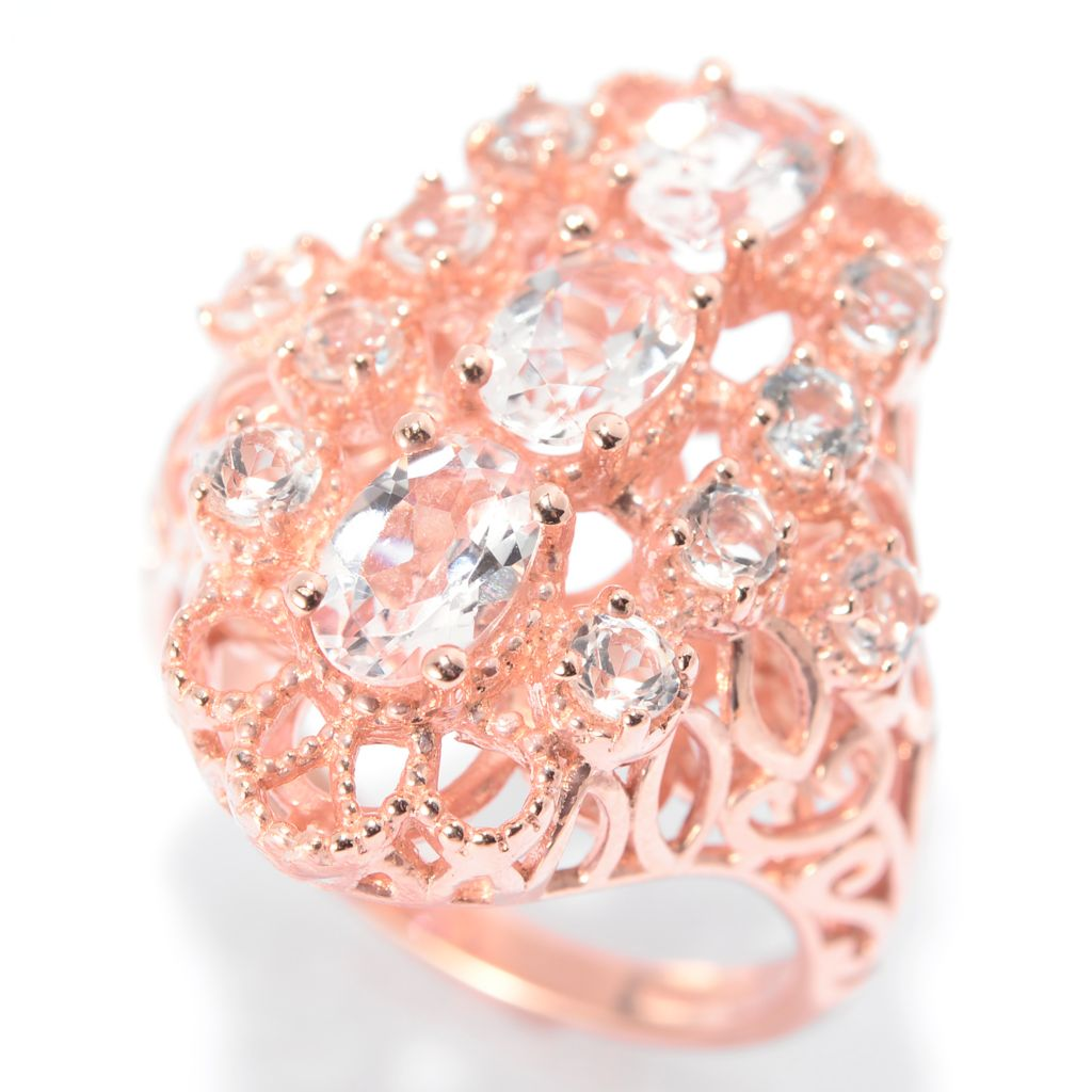 140-575 - NYC II 2.00ctw Oval Morganite & White Topaz Elongated Ring